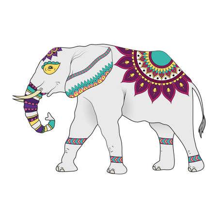 elephant with mandalas animal icon vector illustration design