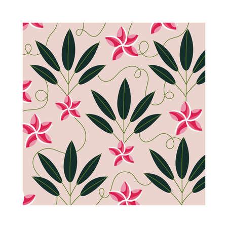 pink flowers plants tropical pattern background vector illustration design