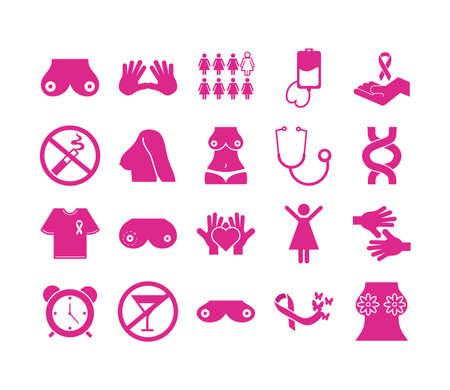 bundle of twenty breast cancer set icons vector illustration design