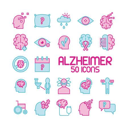 bundle of alzheimer set icons and lettering vector illustration design