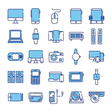 bundle of twenty five devices electronics set icons vector illustration design