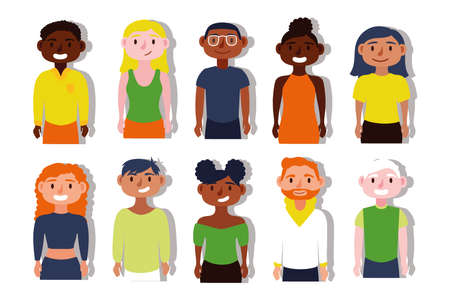 group of interracial people Inclusion characters vector illustration design