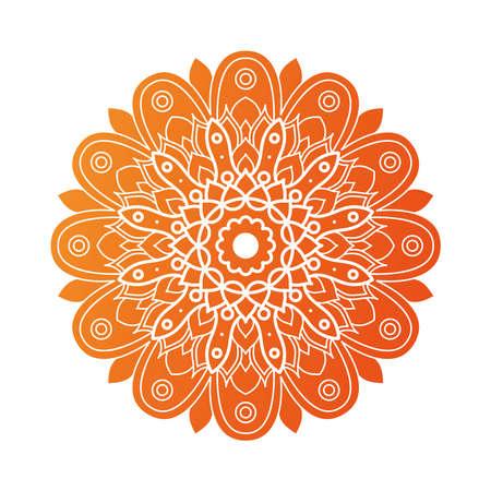 decorative floral orange mandala ethnicity artistic icon vector illustration design 向量圖像