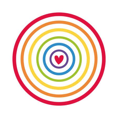 circular cute rainbow with heart flat style icon vector illustration design