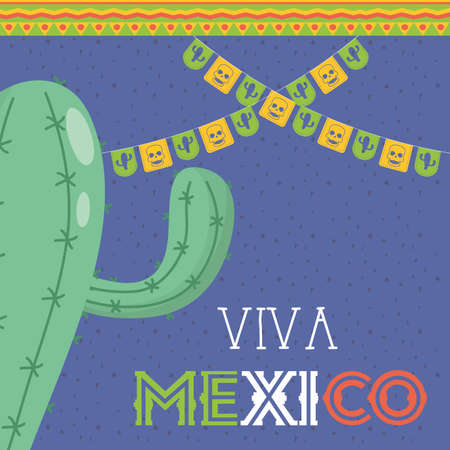 viva mexico celebration with garlands and cactus vector illustration design