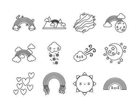 bundle of twelve rainbows and characters icons vector illustration design