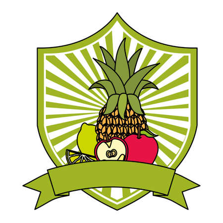 pineapple apple lemon tropical fruits ribbon emblem vector illustration