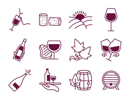 bundle of twelve wine set icons vector illustration design 矢量图像
