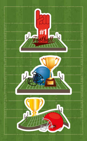 american football sport poster with set equipment icons vector illustration design
