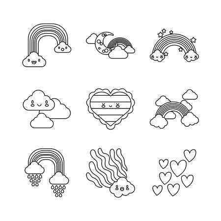 bundle of nine rainbows and kawaii characters icons vector illustration design