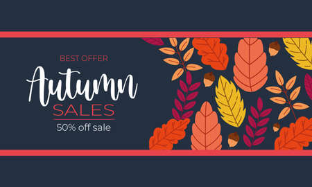 autumn sale poster with lettering and leafs pattern frame in blue background vector illustration design 向量圖像