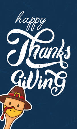 happy thanksgiving day celebration with turkey wearing pilgrim hat head vector illustration design 向量圖像