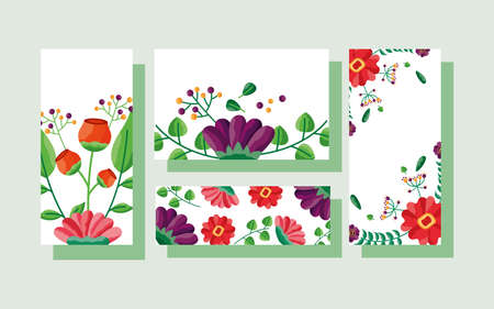 wedding save the date flowers banner or label decoration collection vector illustration 일러스트