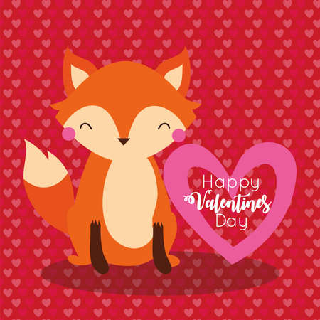 valentines day card with cute fox vector illustration design 일러스트