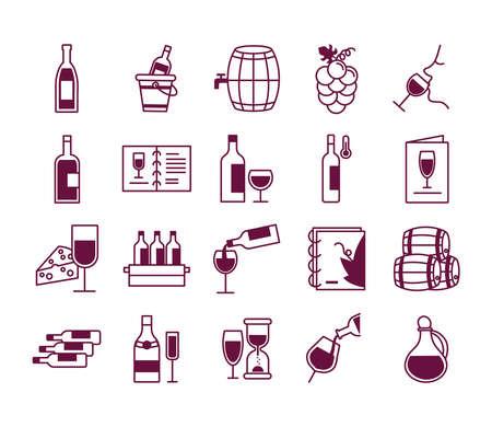 bundle of twenty wine set icons vector illustration design