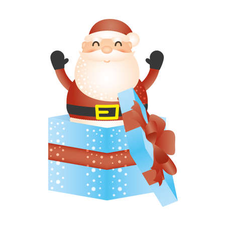 merry christmas santa claus in gift character vector illustration design