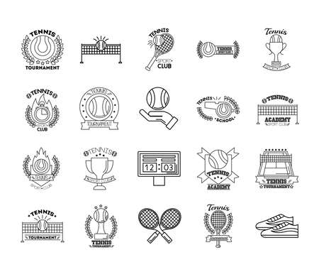bundle of twenty sport tennis set collection icons vector illustration design