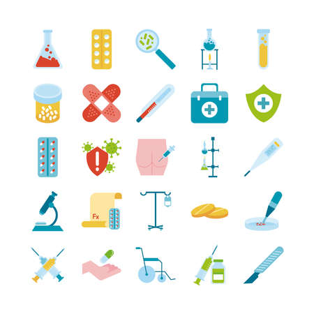 bundle of twenty five medical set collection icons vector illustration design