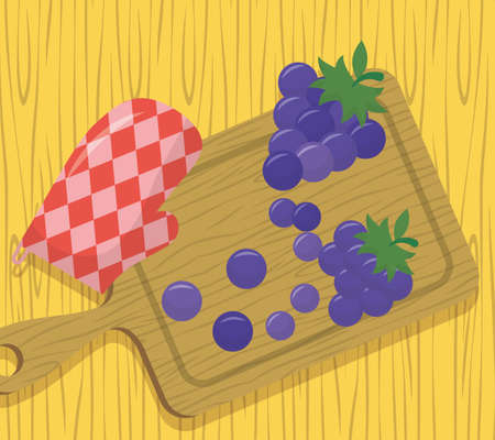 delicious grapes glove preparation sweet vector illustration Ilustrace