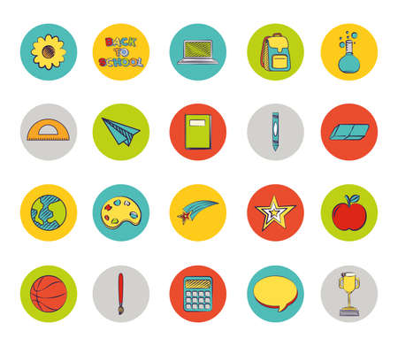 bundle of set colorful back to school icons vector illustration design Ilustrace