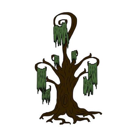 halloween dark tree plant icon vector illustration design