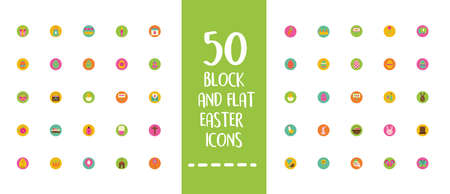 easter lettering with bundle of spring set block and flat icons vector illustration design 矢量图像