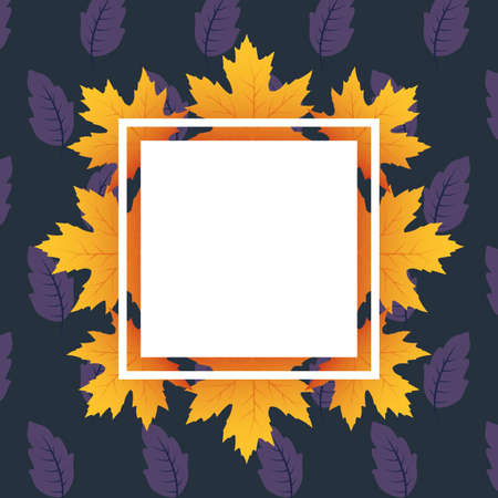autumn leafs foliage square frame vector illustration design