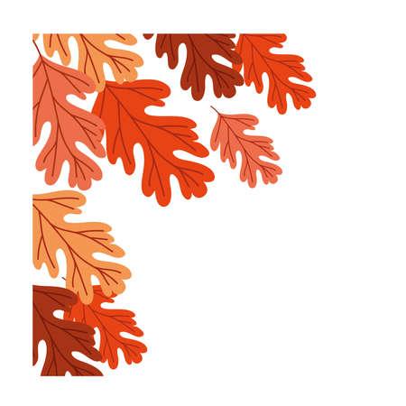 autumn season leafs botanical frame decoration vector illustration design 向量圖像