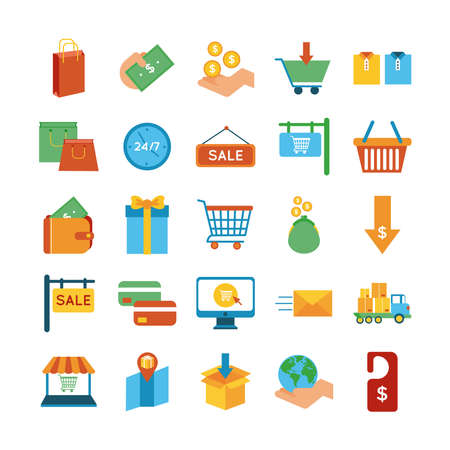 bundle of twenty five shopping set icons vector illustration design