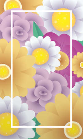 floral decorative card template with square frame vector illustration design Illustration
