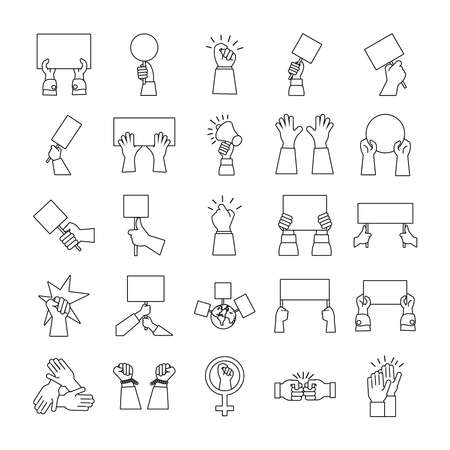 bundle of hands protest set icons vector illustration design