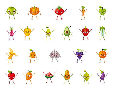 bundle of set fresh fruits and vegetables characters vector illustration design