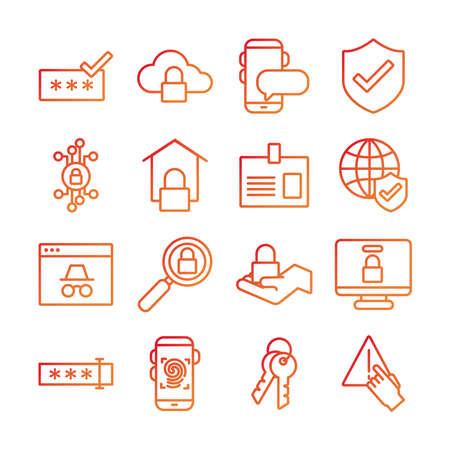 bundle of data security set icons vector illustration design