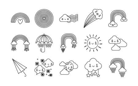 bundle of fifteen rainbows and kawaii characters icons vector illustration design 矢量图像