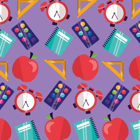 back to school apple supplies background vector illustration