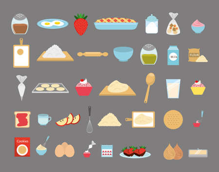 Sweet bakery icon set design, dessert food delicious sugar snack and tasty theme Vector illustration