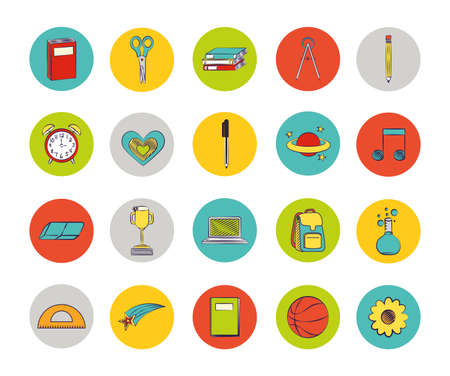 bundle of set colorful back to school icons vector illustration design 向量圖像