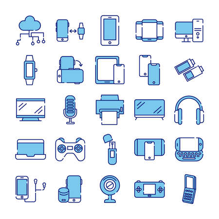 bundle of twenty five devices electronics set collection icons vector illustration design