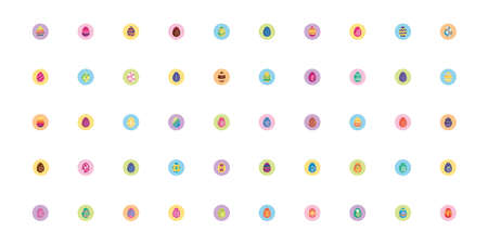 bundle easter eggs painted block style icons vector illustration design