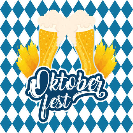 oktoberfest party lettering in poster with beers and checkered flag vector illustration design