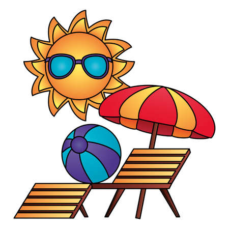 summer time holiday sun sunbed beachball and umbrella vector illustration Illustration