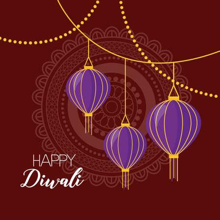 lantern mandala background happy diwali festival poster vector illustration
