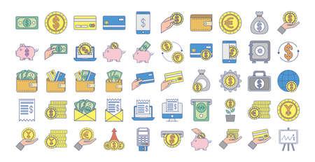 bundle of money exchange icons vector illustration design