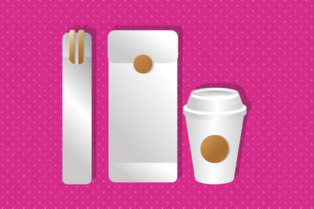 mockup paper envelope and chopstick with cup gradient style vector illustration design