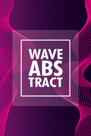 wave abstract with lettering and square frame in purple background vector illustration design