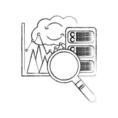 cloud computing with server and set icons vector illustration design