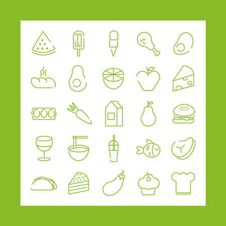 bundle of twenty five food set icons in green background vector illustration design