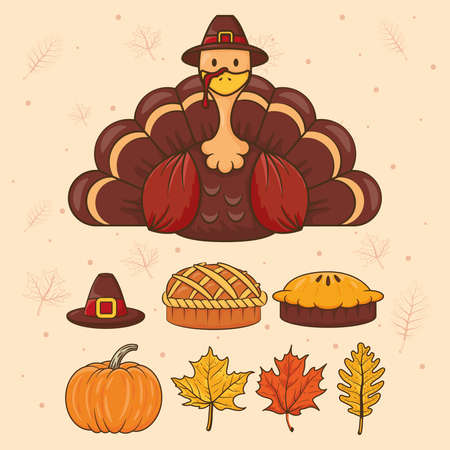 happy thanksgiving day celebration with turkey wearing pilgrim hat and set icons vector illustration design 向量圖像