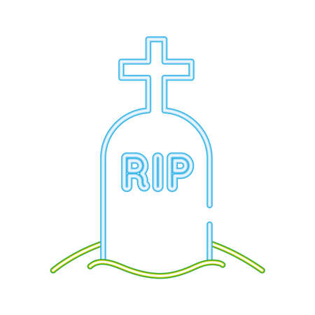 cemetery tomb with rip word neon style icon vector illustration design Vectores