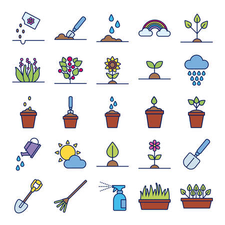 bundle of plant growth line and fill style vector illustration design